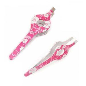 trimedix silver on pink grip tweezers