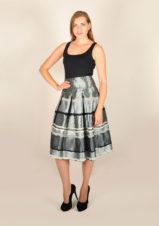 guzella - taffeta silver floral midi skirt