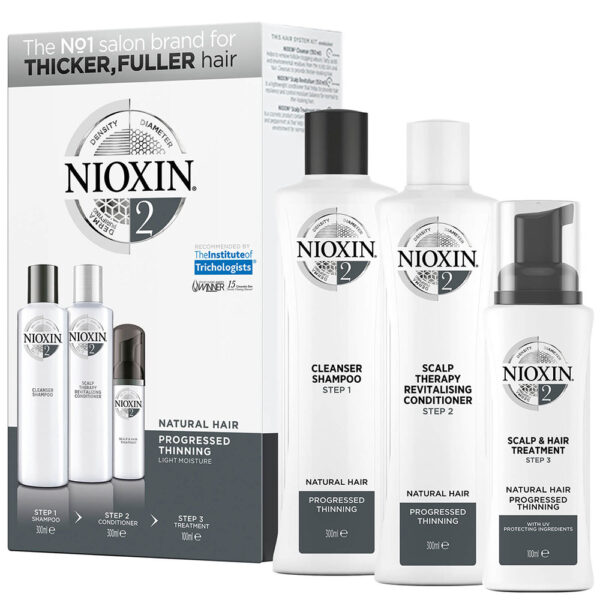 NIOXIN 3-Part System 2 Loyalty Kit for Natural Hair with Progressed Thinning